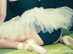 Naughty ballerina strapon pounded