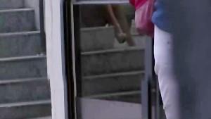 Blonde girl nylon upskirt on stairs