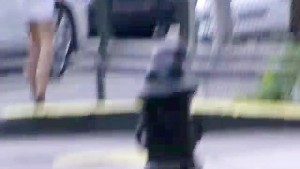 Car upskirt shot on sexy Latina