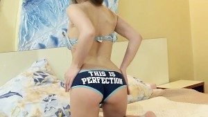 Hairy girl Tami teases in blue
