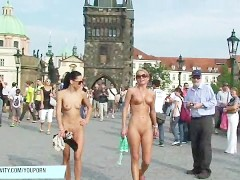 Picture Crazy Leonelle and Laura naked on public str...