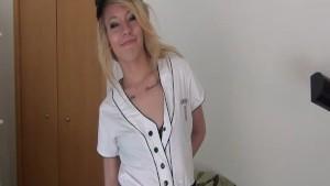 Baseball Girl Nervous for First Time Dildo Video