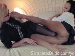 Two petite students having hard strapon sex after the lessons