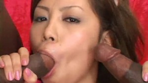 Sexy Asian Takes Two Black Dicks - Amorz