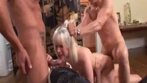 Nasty Blonde Fucked Hard By Three Guys - Harmony