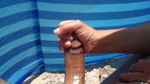 big cumshot on the beach