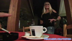 PublicAgent HD Blonde Cafe waitress takes my cash and fucks me in the toilet