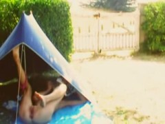 Girl spied while she masturbates in a tent