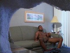 Picture Straight guy caught stroking his big black d...