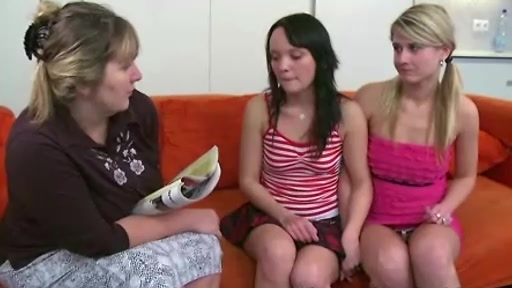 Old lesbian woman converts two sexy teens into lesbians