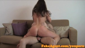 FakeAgent Brunette amateur takes huge facial