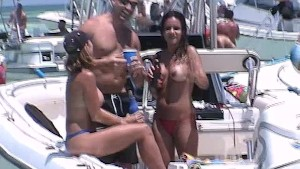Party Girls Getting Naked on a Sandbar in the Florida Keys