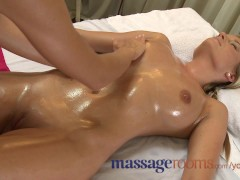 Massage Rooms Big natural tits oiled up before girls get deep hard pumping