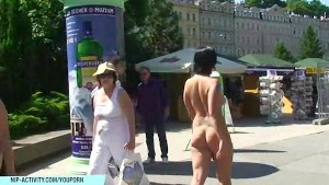 Crazy valerie shows her ass and pussy in public