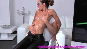 FemaleAgent MILF gets all oiled up by massuse stud