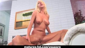 Mature blonde MILF takes a hard cock deep