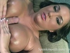 Big Tit Hottie Lizzy Styles gets oiled up tittyfuck and blows cock for a spunkmouth