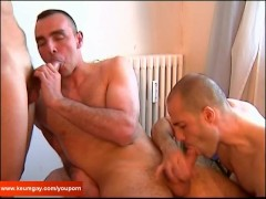 Sylvain and Hamid, 2 sexy hunk guys with huge cock get sucked our assistant in spite of him !