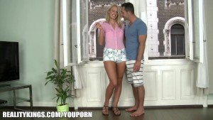 Euro blond with a HOT body gets super wet before taking two cocks