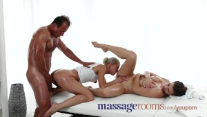 Massage Rooms Threesome have sensual oily orgasms and dirty sex