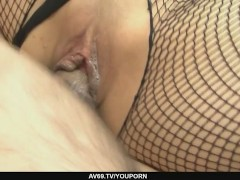 Picture Yurika Gotou in fishnet widen her legs befor...