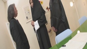 Naughty Nun spreads wide and sucks dick Hitomi Kanou