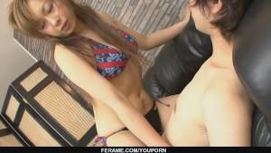 Asian babe Yurina humping her guy´s stiff boner