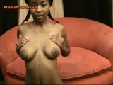 Petite ebony amateur in pigtails teases with her hot body