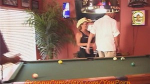 Granny gets some at the POOL HALL