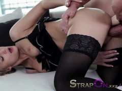 StrapOn Double penetration for hot blonde from her lover