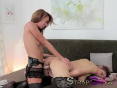 Strapon Passionate and romantic lesbian strapon penetration sex scene
