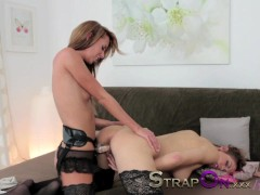 Strapon Passionate and romantic lesbian strapon penetration sex scene