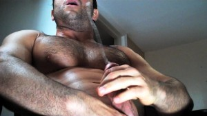 Cumming on Hairy Muscle chest!