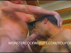 sucking 2 hung monster cocks