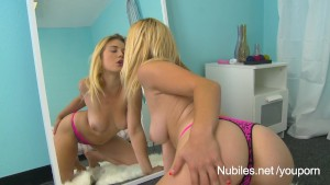 College teen seduces naughty girl in the mirror