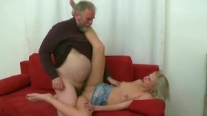 Blonde girl fucked by old man when her boyfriend comes and gives his cock for blowjob