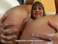 Slender legs Micki plays with a big toy only at LegAction