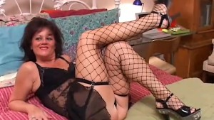 Sexy old spunker in stockings Debella enjoys a facial cumshot