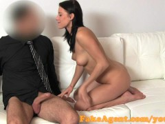 FakeAgent Beautiful brunette talked into sex in casting