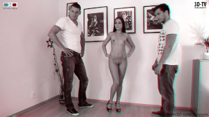 Olivia having a casting 3D bw movie