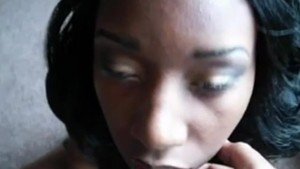 Ebony wife perfect handjob with facial