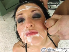 Aletta Ocean bukkaked by five massive cumshots left dripping in cum