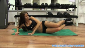 PubilcAgent Gym sex with brunette with big tits