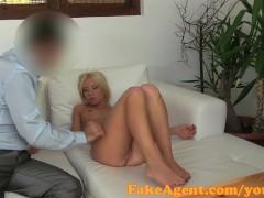FakeAgent Blonde hottie milks big cock in casting