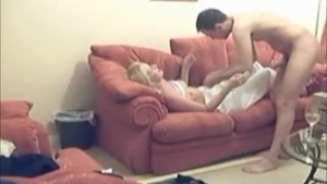 Blonde girlfriend fuck on sofa