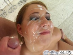Cum for Cover facial cum bukkake with Mel and four big cocks