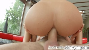 AssTraffic brunette anal sex with huge gapes and cum swallow