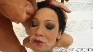 Cum For Cover five cumshots cover a brunette models face