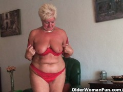 Chubby granny with saggy big tits and...