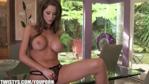 Emily Addison strips out of her bodysuit and masturbates